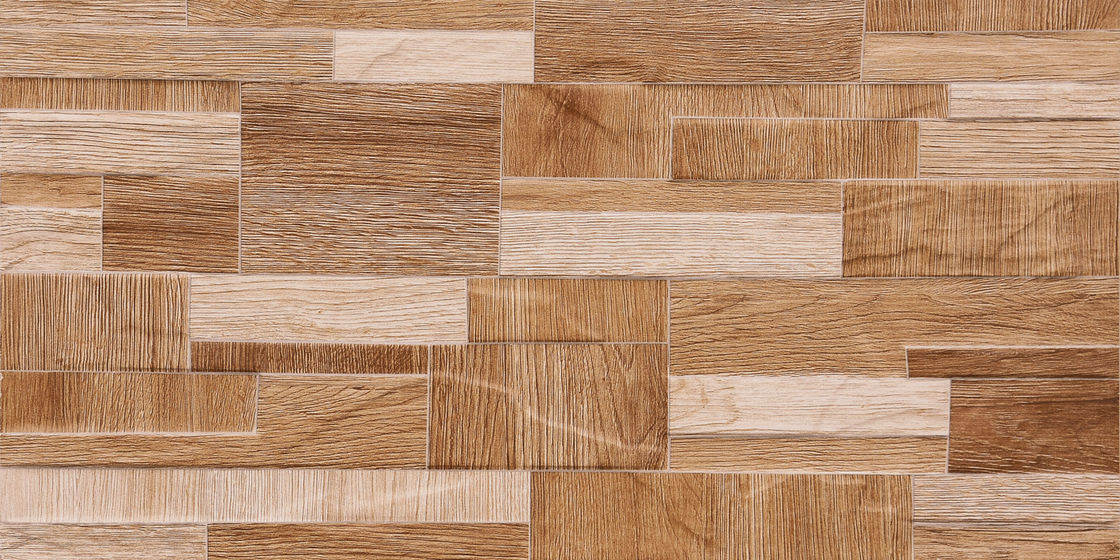 Wooden Color 3D 600 X 300 Ceramic Wall Tiles Apply  For Kitchen   Brown Or White
